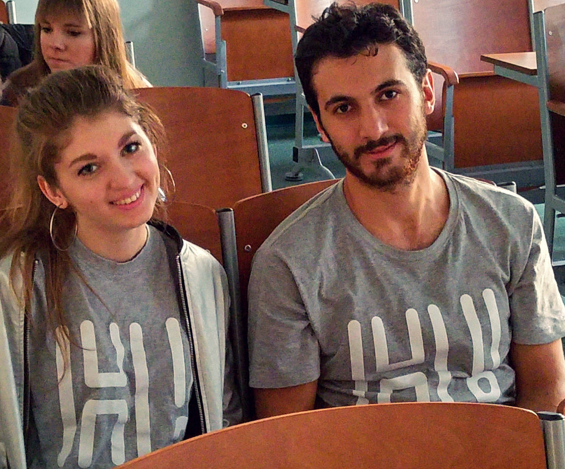 Diana is Ukrainian and Tabriz is Azerbaijani. What a coincidence, they are sporting the very same hello.uni.opole.pl shirt to the class today. The class including Georgian, Greek, Polish, Taiwanese and Turkish as well. Now this is the Uni of O! Hello